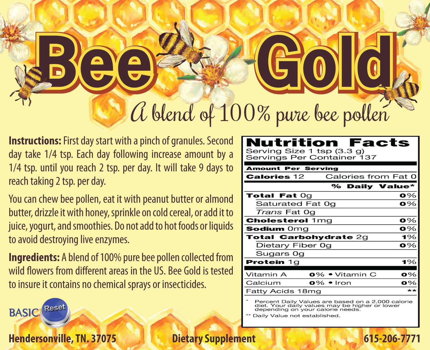 Bee Gold Bee Pollen Granules 137 servings - By Basic Reset