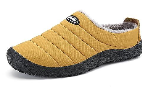 DAFENP Zapatillas de Casa para Hombre/Mujer,Unisex Zapatillas Fluff Antideslizantes Invierno Cálido Confortables Casa Interior/Intemperie,XZ322-yellow-EU44: ...