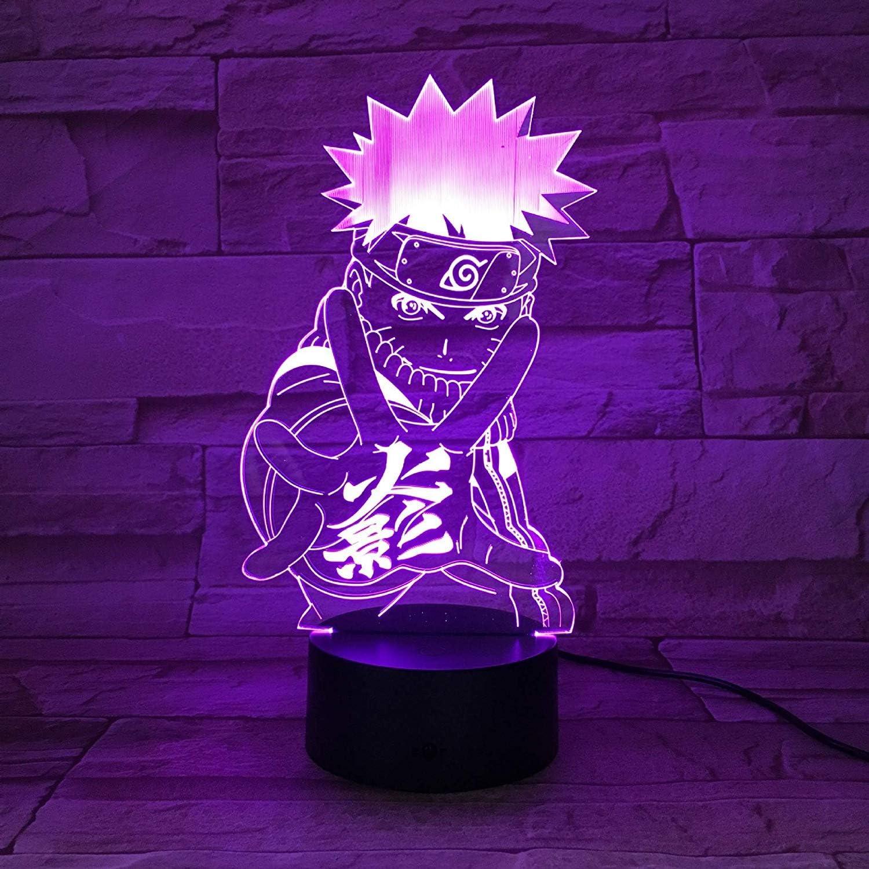 Naruto Goku Lampada 3D Lampada da notte Lampada da scrivania a LED Touch USB multicolore Come decorazione domestica Luci per Ragazzi Ragazze Bambini Bambini