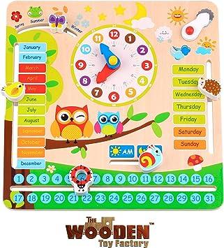 The Wooden Toy Factory - Reloj Calendario Educativo *EN Ingles* - Juego para Aprender Las Horas, Las Fechas y el Clima: Amazon.es: Juguetes y juegos