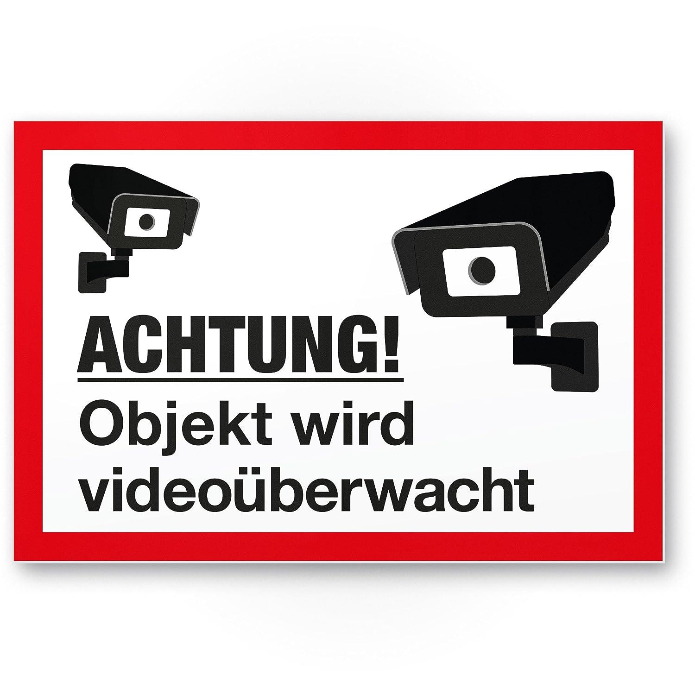 Objeto vídeo mediante wacht Cartel (Blanco de rojo, 30 x 20 ...