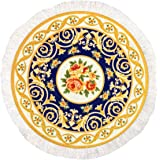 Round Rug Mouse Pad Oriental Persian Floral Mouse Mat Coaster Yellow Blue Orange Red