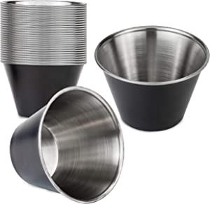[24 Pack] 4 oz Stainless Steel Sauce Cups - Matte Black Individual Round Condiments Ramekins, Commercial Grade Safe/Portion Dipping Sauce Kitchen Set