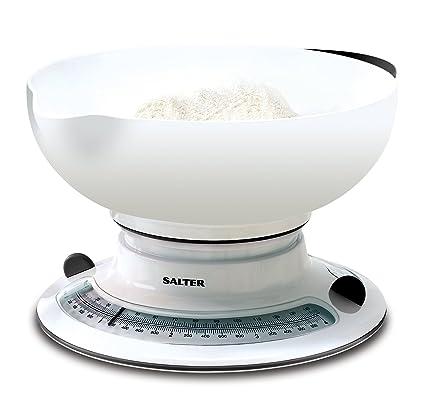 Salter 800WHBKDR Bascula de Cocina Blanca Amplio Contenedor, Aquatronic