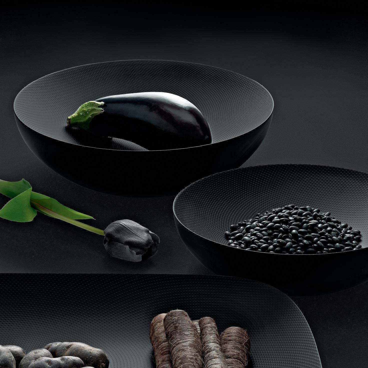 Alessi Double Copa de doble pared de dise/ño en acero colorado con resina epossidica Steel con decoraci/ón en relieve negro