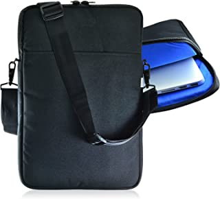 product image for Turtleback Padded Sleeve Bag for Apple 15in MacBook Laptop, Case with Adjustable Straps Black/Blue, Made in USA