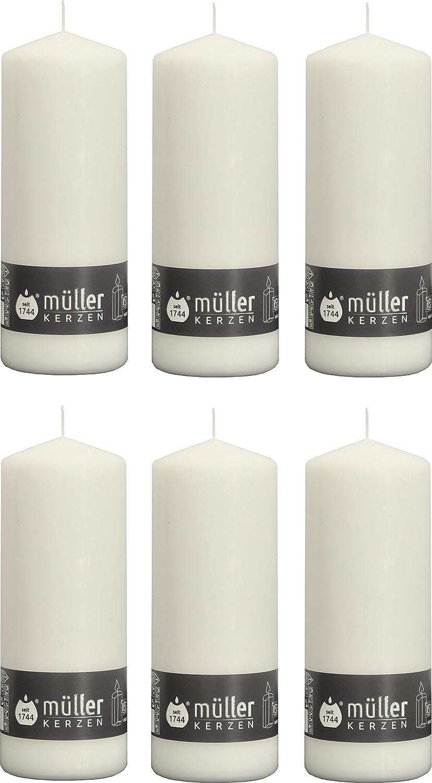 32 x Stumpenkerzen weiß//weiss von Müller Kerzen 62x40 mm Durchbrandsperre Deko