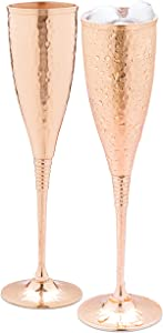Copper champagne flutes of 6.7 oz set of 2 – Luxurious hammered copper champagne glasses – Each one is handcrafted and lacquered to prevent from tarnishing.
