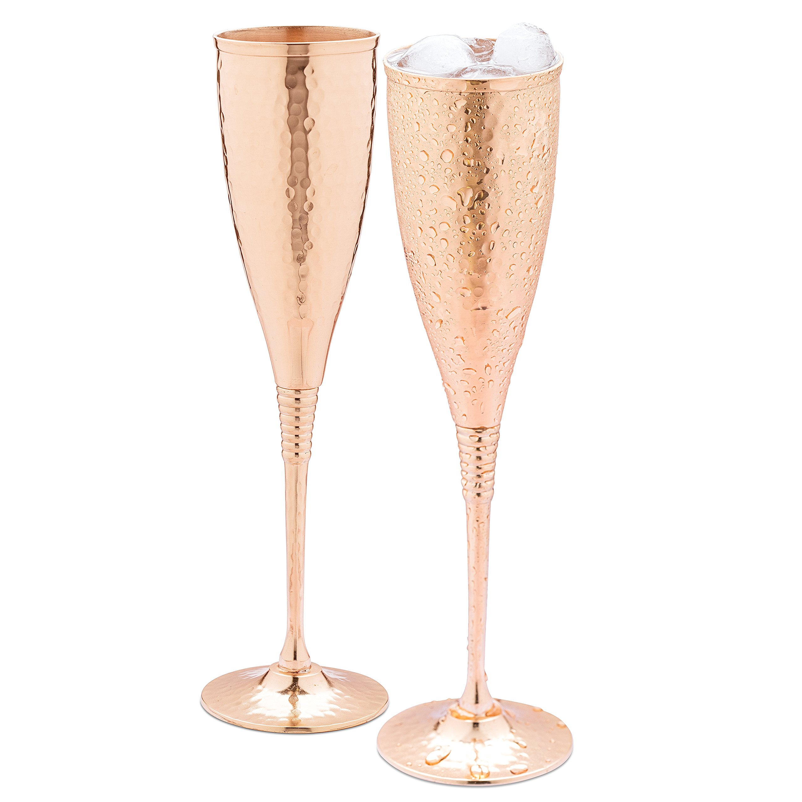 Copper champagne flutes of 6.7 oz set of 2 - Luxurious hammered copper champagne glasses - Each one is handcrafted and lacquered to prevent from tarnishing.