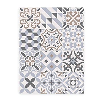 MAMUT Big Design Tapis En Vinyle Inspiré Du Carrelage Typique De L - Faience cuisine et tapis voiture pas cher