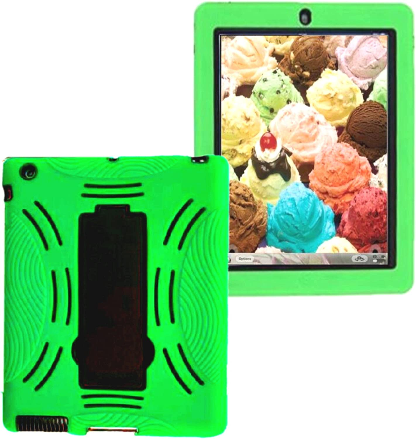 ipad 4th Generation 3in1 Kids Cases Fit for Ipad Model md510ll/A mc769ll /A mc979ll /A A1397 A1395 A1458 A1430 A1416 A1396 Rugged Shockproof Silicone Protective ipad 2nd 3rd 4th Cover