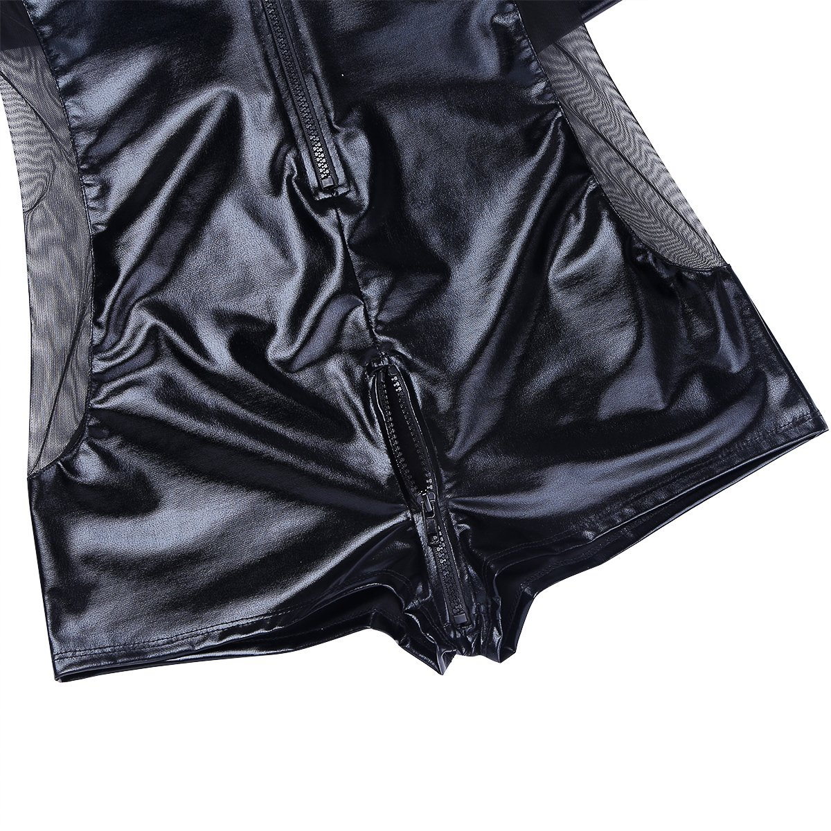 3b6a32005da8 ACSUSS Men s Wetlook Patent Leather Front Zipper One-Piece Bodysuit Leotard  at Amazon Men s Clothing store