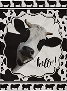 """pingpi Decorative Outdoor Double Sided Cow Garden Flag Hello Quote, House Yard Flag, Garden Yard Decorations, Seasonal Outdoor Flag 12.5""""x18"""""""