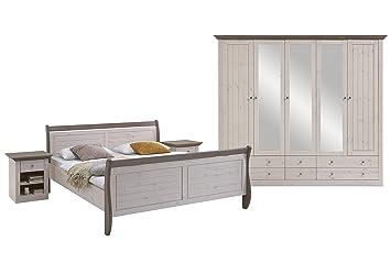 Steens Monaco Schlafzimmer, Kiefer Massiv, 4 Teiliges Set, Bett,  Kleiderschrank Und