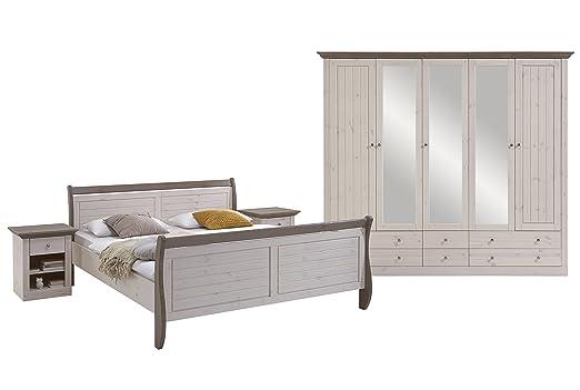 Steens Monaco Schlafzimmer, Kiefer massiv, 4-teiliges Set, Bett ...