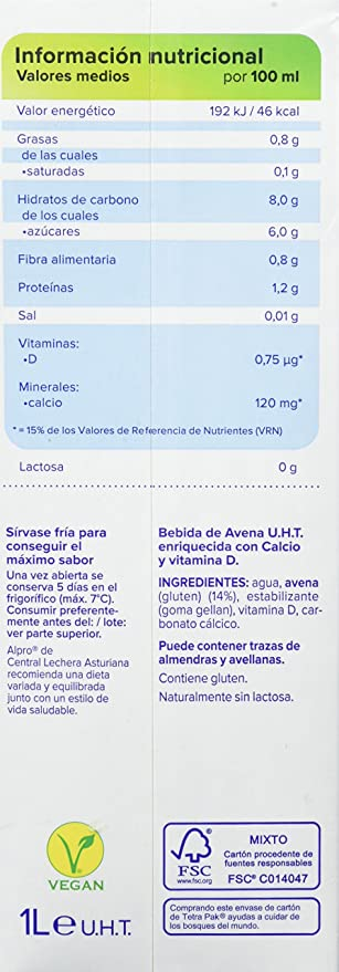Central Lechera Asturiana Bebida de Avena - Paquete de 6 x 1000 ml - Total 6000 ml: Amazon.es: Amazon Pantry