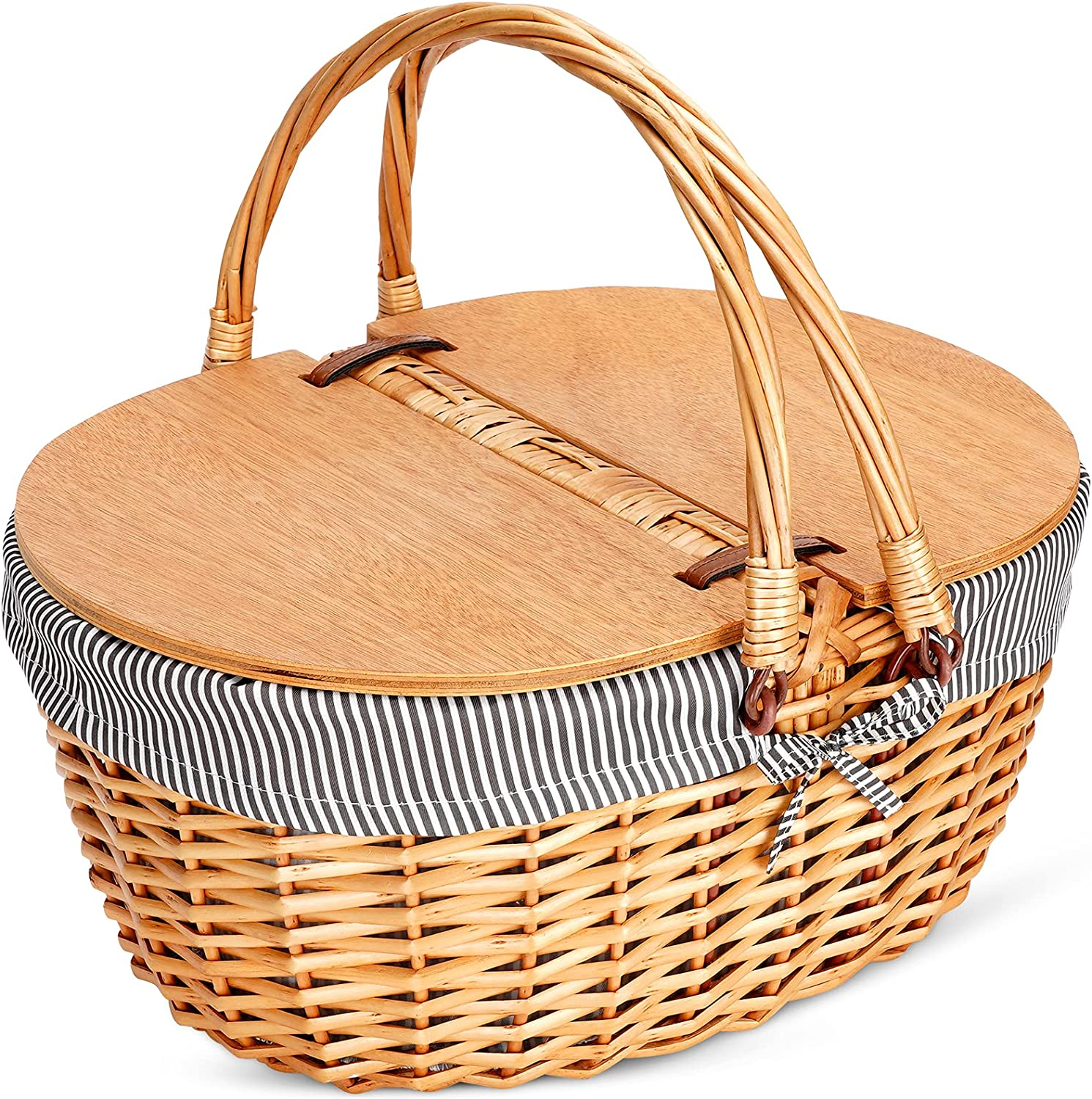 Wicker Picnic Basket with Liner, Classic, Vintage-Style Picnic Basket, Wicker Picnic Hamper for Camping,Outdoor,Valentine Day,Thanks Giving,Birthday (S Grey Stripe)