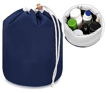 MyGadget Kosmetikbeutel mit Kordelzug//gro/ße Kulturtasche Make-Up Frauen Kosmetiktasche Waschbeutel Reise Fass zum Hinstellen von Kosmetik Blau