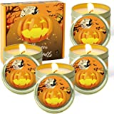 STRN Halloween Scented Candles, Pumpkin Soy Wax Candles, Aromatherapy Candles Gift Set for Halloween Night Party (4 x 2.5 oz)