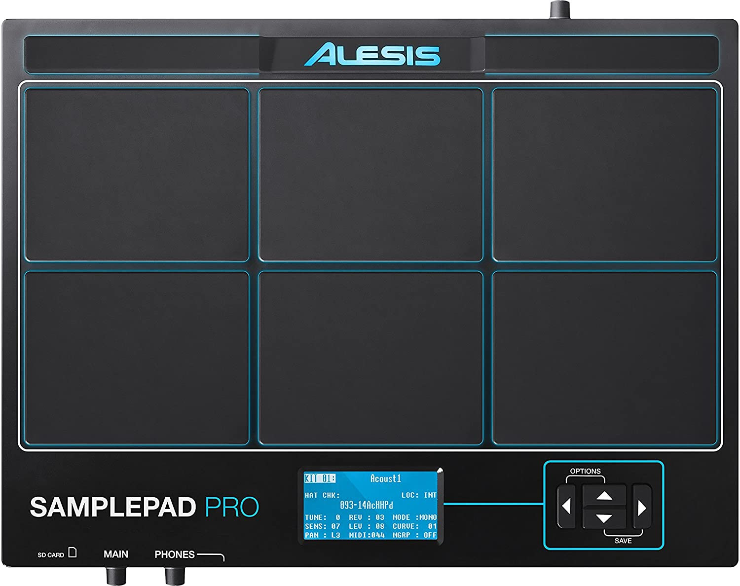 Percussion and Sample-Triggering Instrument With Responsive Dual Zone Rubber Pads Active Blue LED Illumination /& Gibraltar SC-EMMP Electronic Module Mounting Plate Alesis Sample Pad Pro
