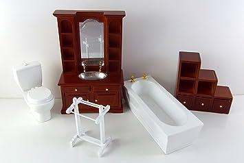 Vanity Fair Dolls House Miniature 1:12 Scale White Walnut Wood Bathroom  Furniture Set Suite