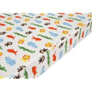 Premium Fitted Pack N Play Playard Sheet made with 100% ORGANIC Cotton, SAFARI