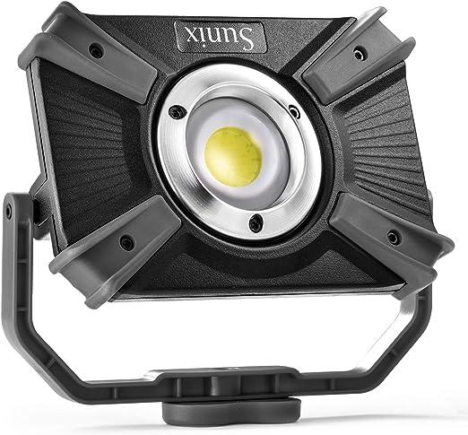 Sunix Luz de Trabajo, Foco Led Recargable 30W, 48 LEDS, Resistente al Agua IP64, 4 Modos, con Abrazadera con Imán Iluminación Luz roja de emergencia ...