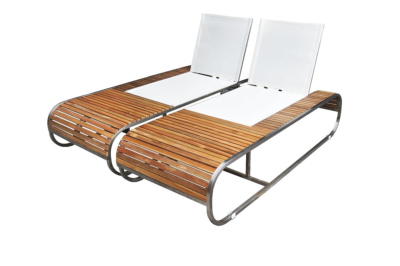 OUTFLEXX exklusive Doppelliege Chaise Longue, Sonnenliege, Liegebank aus solidem Edelstahl, ca. 200 x 160 x 38 cm, Liegefläche aus hochwertiger Textilene, Teakholz-Armlehnen, stapelbar, wetterfest