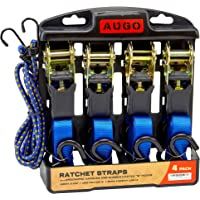 $21 » Ratchet Tie Down Straps - 4 Pk - 15 Ft- 500 Lbs Load Cap- 1500 Lb Break Strength- Cambuckle…