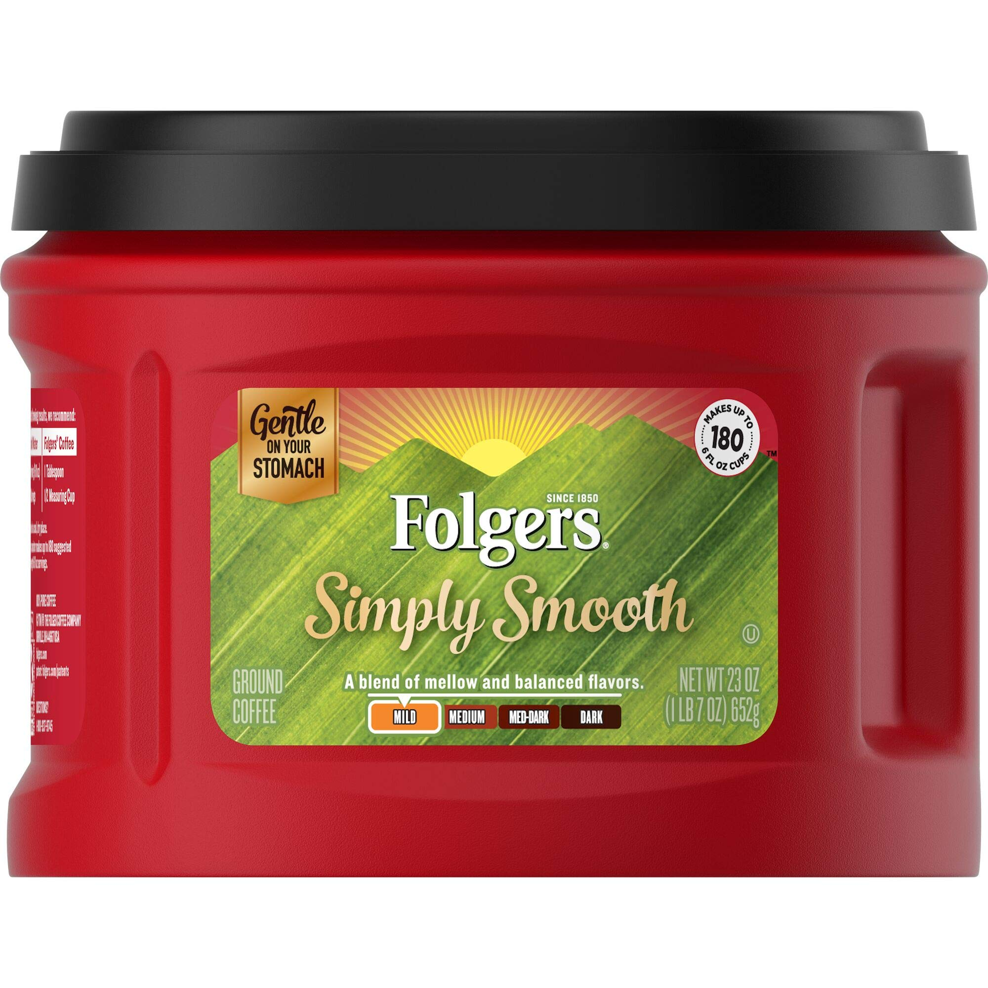 Folgers Simply Smooth Ground Coffee, Medium Roast, 23 Ounce (Pack of 6), Packaging May Vary by Folgers
