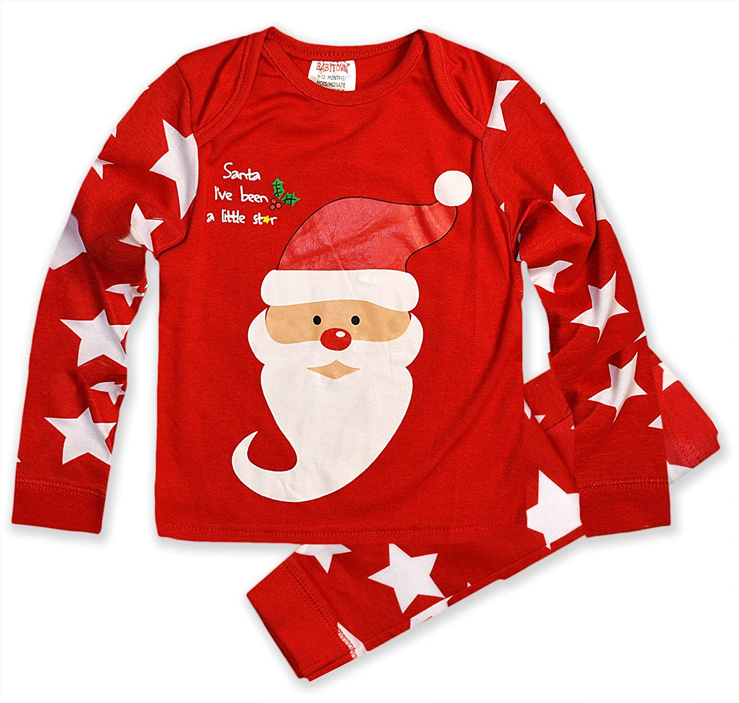 amazoncom babies christmas pajamas baby boys girls santa rudolph sleepwear set clothing - Childrens Christmas Pyjamas