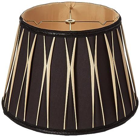 Royal Designs Bowtie Pleated Drum Designer Lamp Shade, Black, 10 X 14.5 X 10