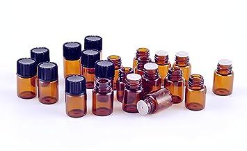 Elufly 2 ml (5/8 DRAM) vidrio ámbar aceite esencial de botella con