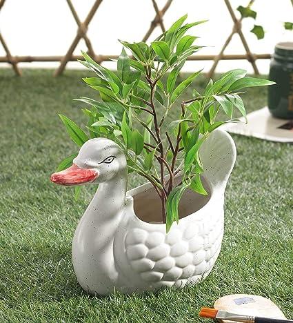 Ceramic Planter Pot Plant Container Decorative Big White Duck