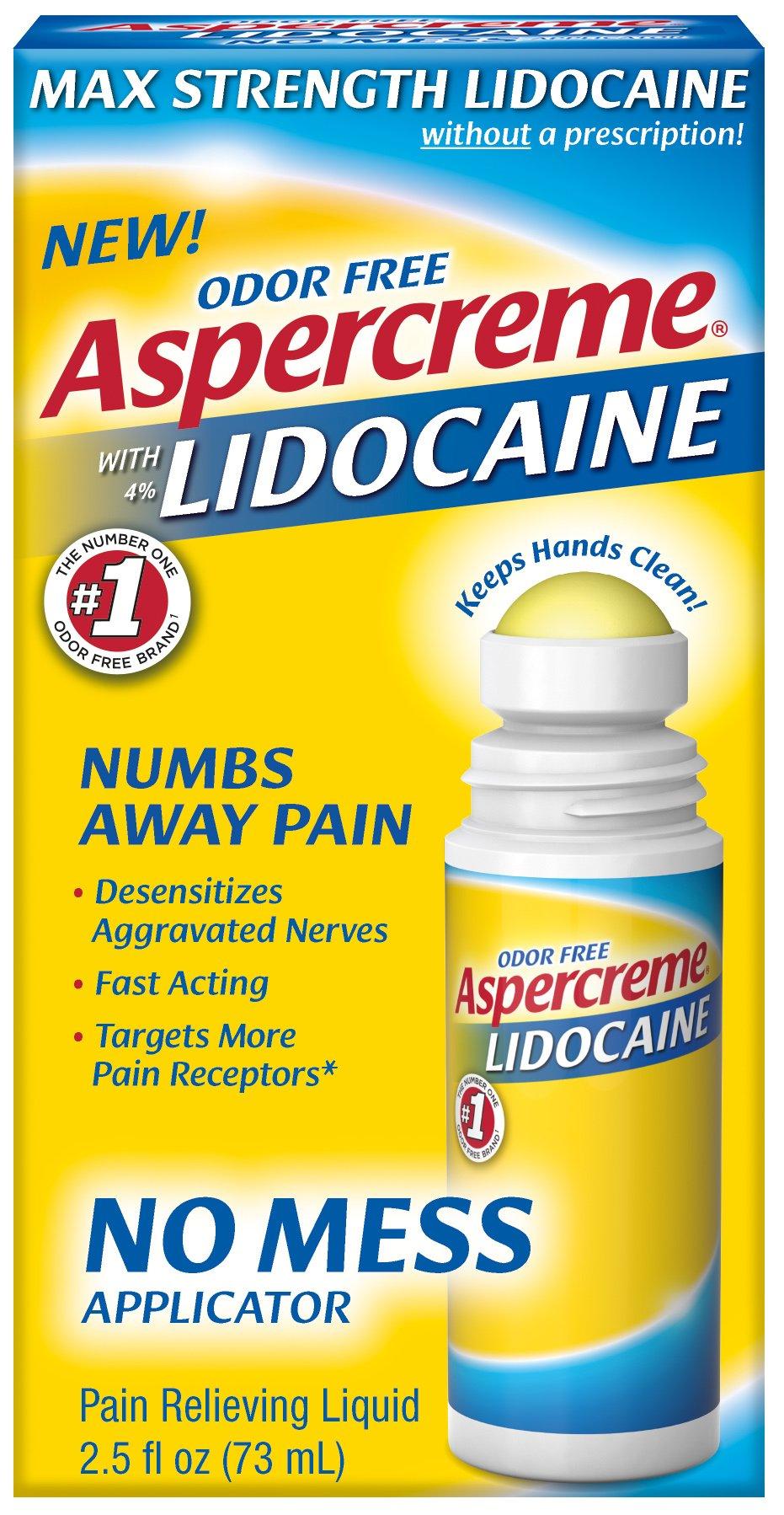Aspercreme 4% Lidocaine No Mess Applicator, 2.5 oz, Pack of 3