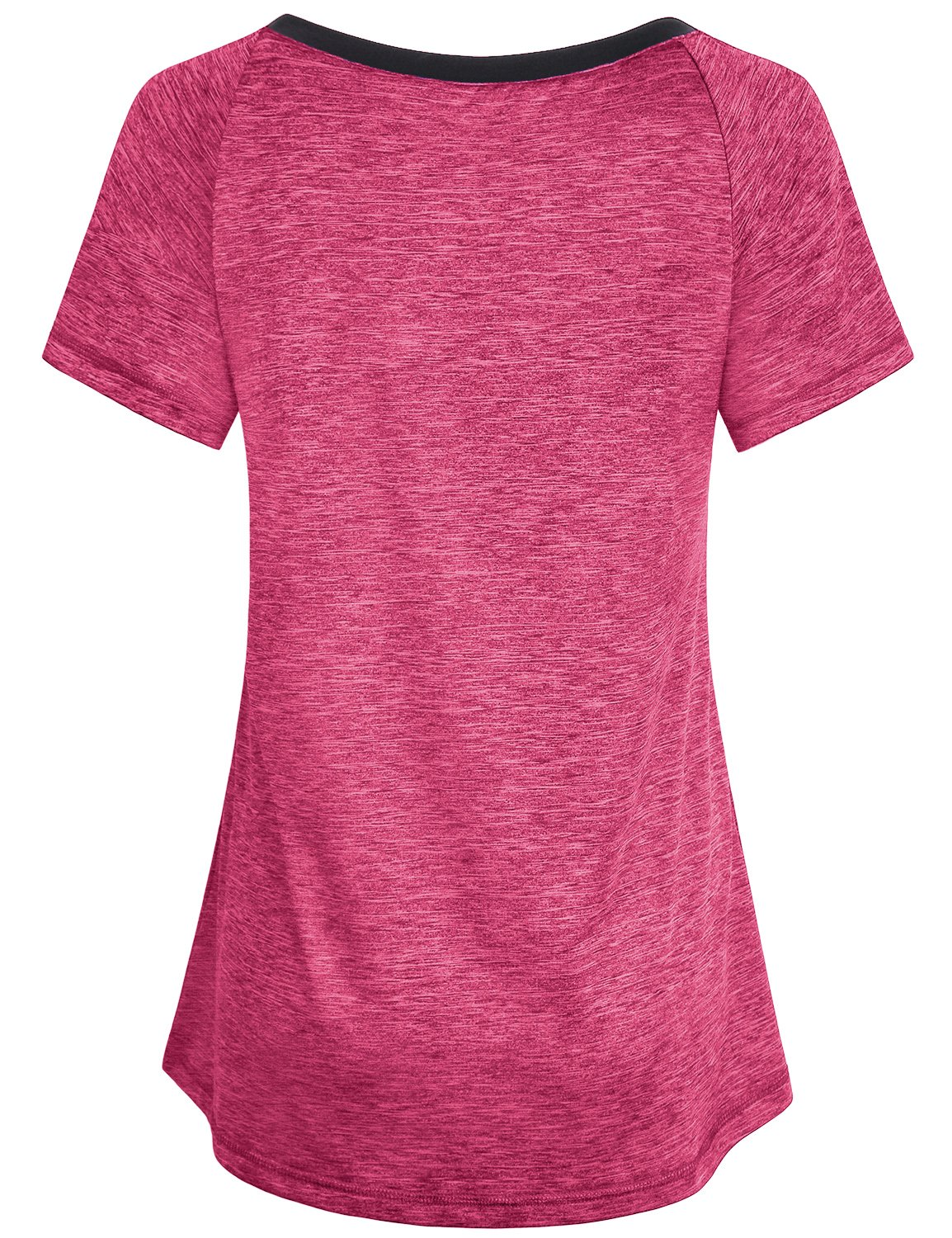 Miusey Workout Clothes for Women, Girls Quick Dry Shirts Short Raglan Sleeve V Neck Yoga Running Tunic Lightweight Top Casual Summer Hipster Fashion Primary Fitness Tees Red M by Miusey (Image #2)