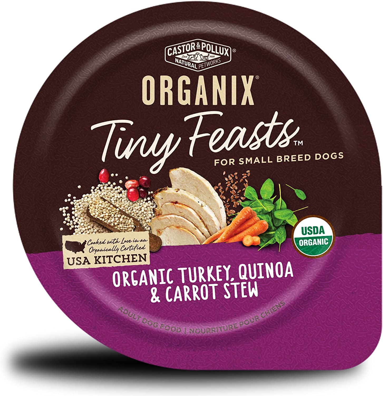 Castor & Pollux Organix Tiny Feasts Organic Turkey, Quinoa & Carrot Stew Dog Food Trays, (12) 3.5oz cans