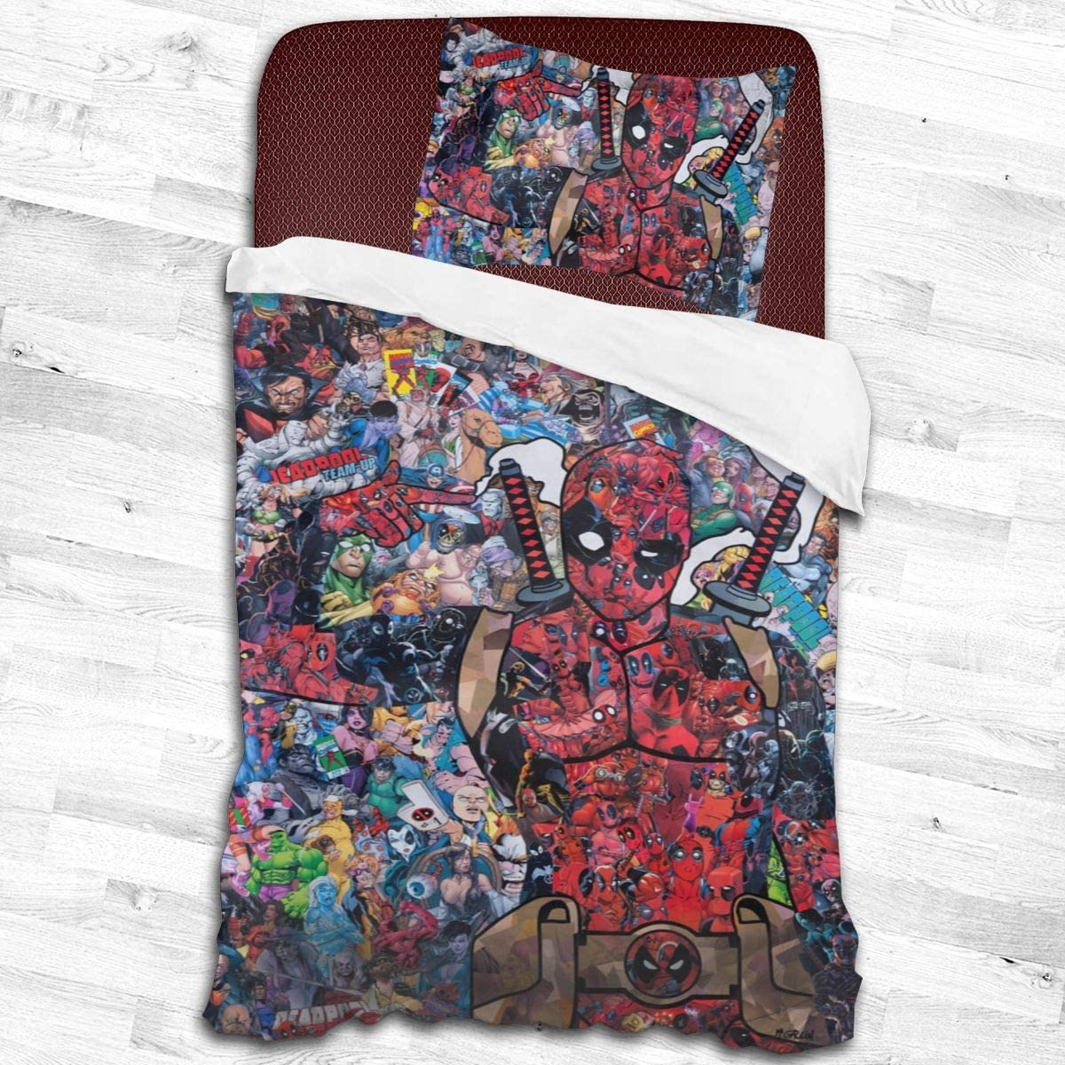 """GaoBaiProduct Deadpool Collage 2-Piece Bedding Set with Pillow Case,Twin Size (55""""x83"""",53""""x79"""") Bed Comforter Set"""
