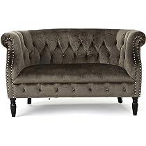 Amazon Com Christopher Knight Home Milani Tufted Scroll Arm Velvet Loveseat Grey Dark Brown Furniture Decor