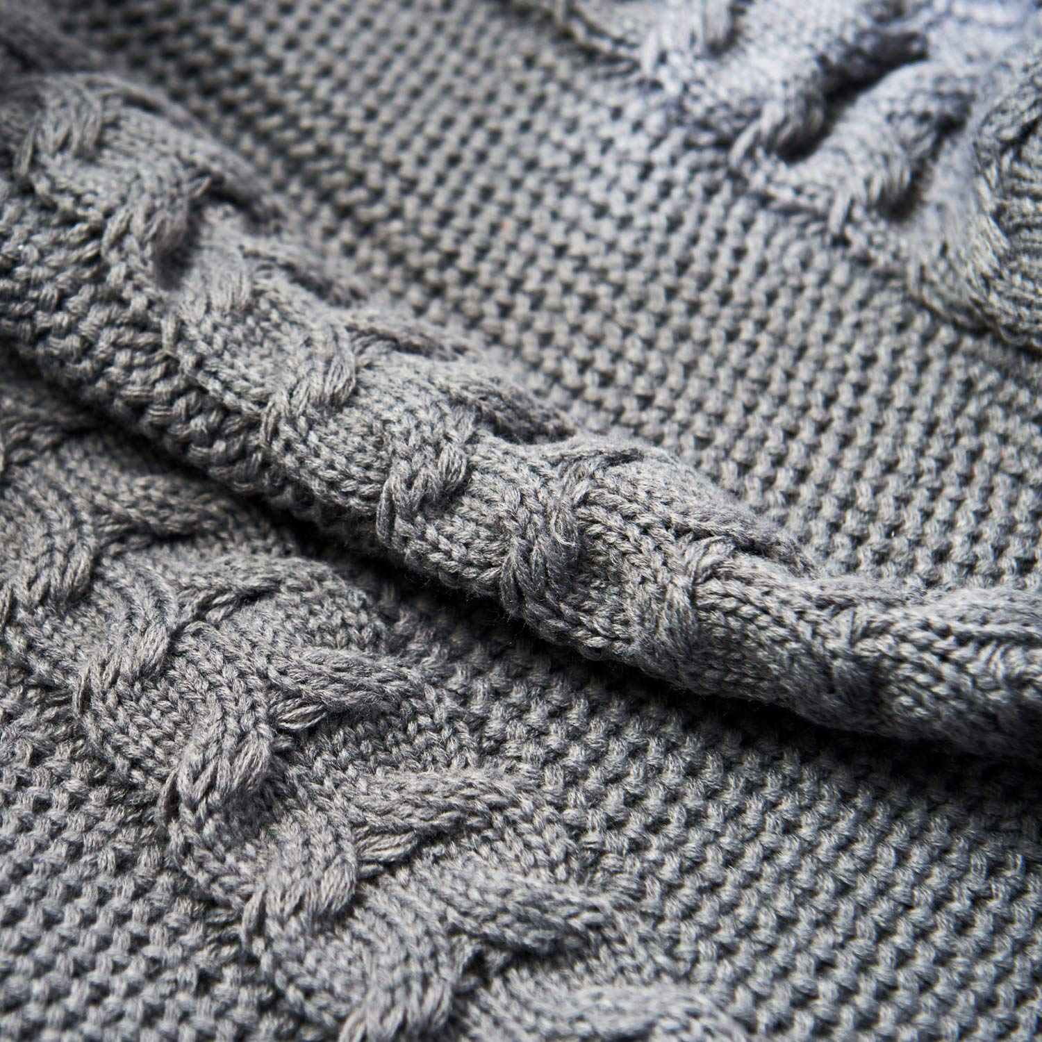 Grey Slim Cable Knitted 75 x49 Zebrum Knitted Throw Blanket 49X 75,100/% Cotton Cable Knit Blanket,Super Soft//Cozy//Warm