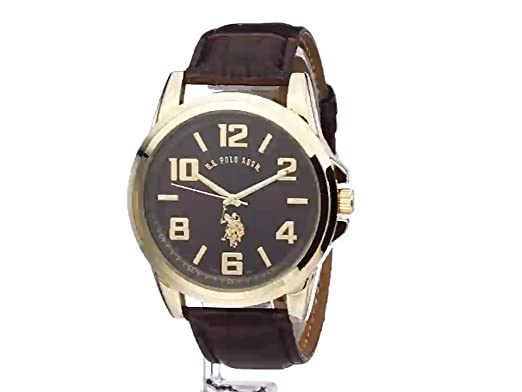 Amazon.com: U.S. Polo Assn. Classic Mens USC50167 Gold-Tone Watch with Brown Band: Watches