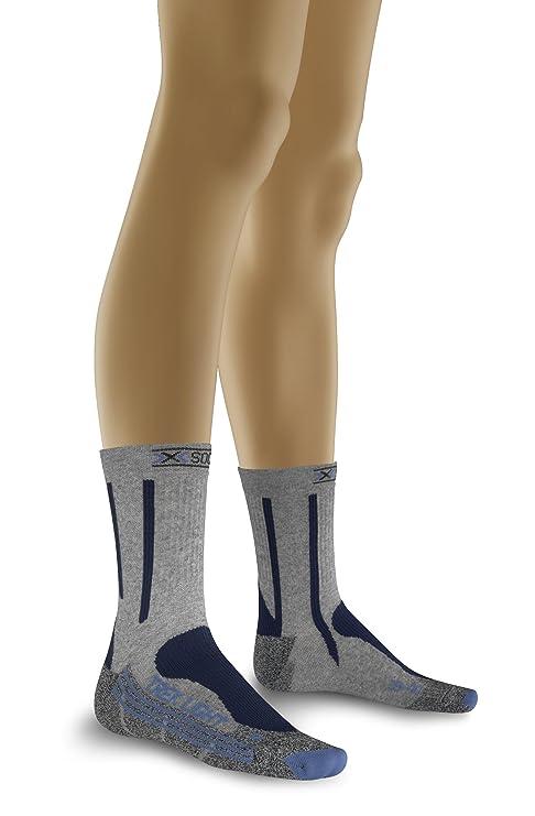 X-Socks Trekking Light - Calcetines de senderismo para mujer gris y azul Talla: