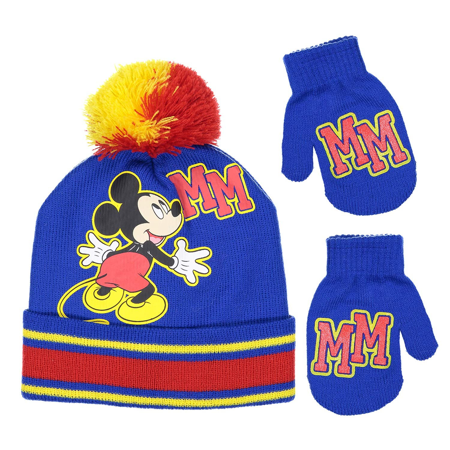 Disney Mickey Mouse Boys Beanie Knit Winter Hat And Mitten Set - Toddler Size [4015]