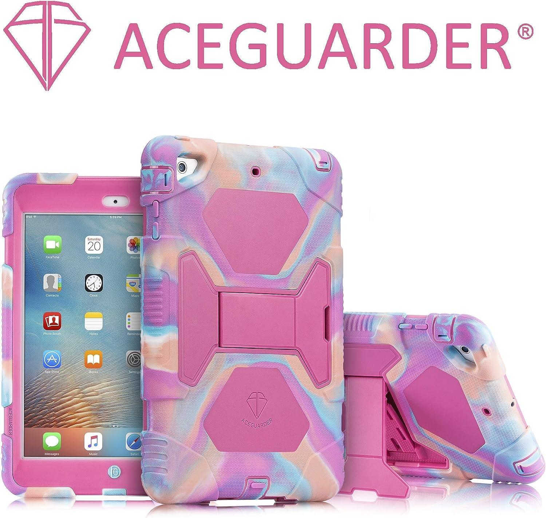 iPad Mini Case, ACEGUARDER Full Body Protective Premium Soft Silicone Cover with Adjustable Kickstand for iPad Mini 1 2 3 (PinkCamo/Rose)