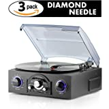 Record Player with 3 Pack Diamond Tip Needle – Spin Your Records and Relive Those Sweet Memories – Plug and Play with Built in Speakers – Easily Record Music from Vinyl to MP3 via USB or SD Card