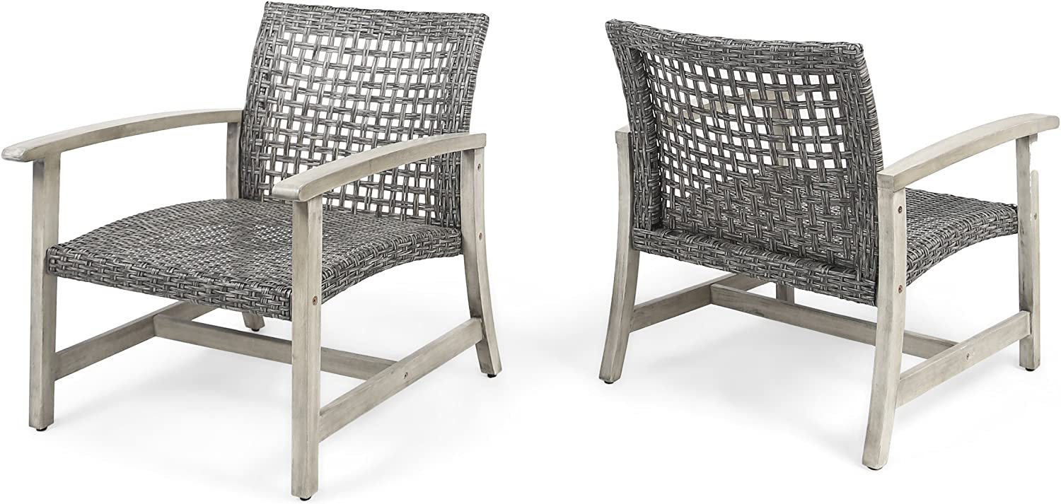 Great Deal Furniture Viola Outdoor Wood and Wicker Club Chairs (Set of 2), Gray Finish and Mixed Black