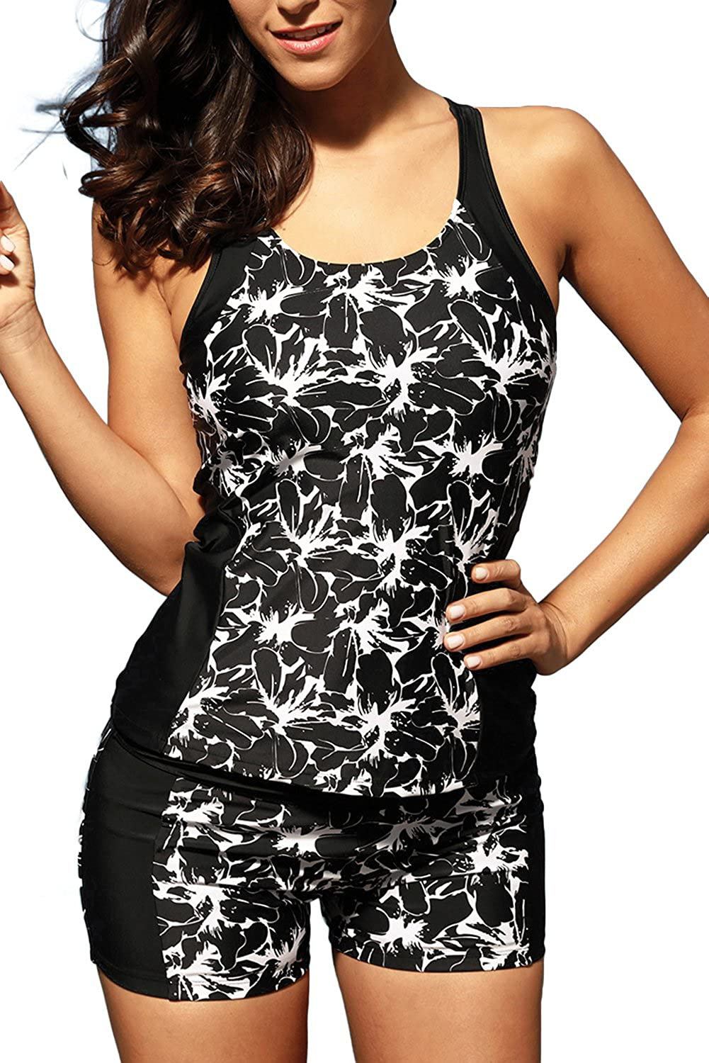 badbef05de Black tankini with contrast white floral print and solid panel splice. Tankini  top features adjustable straps and racerback ...