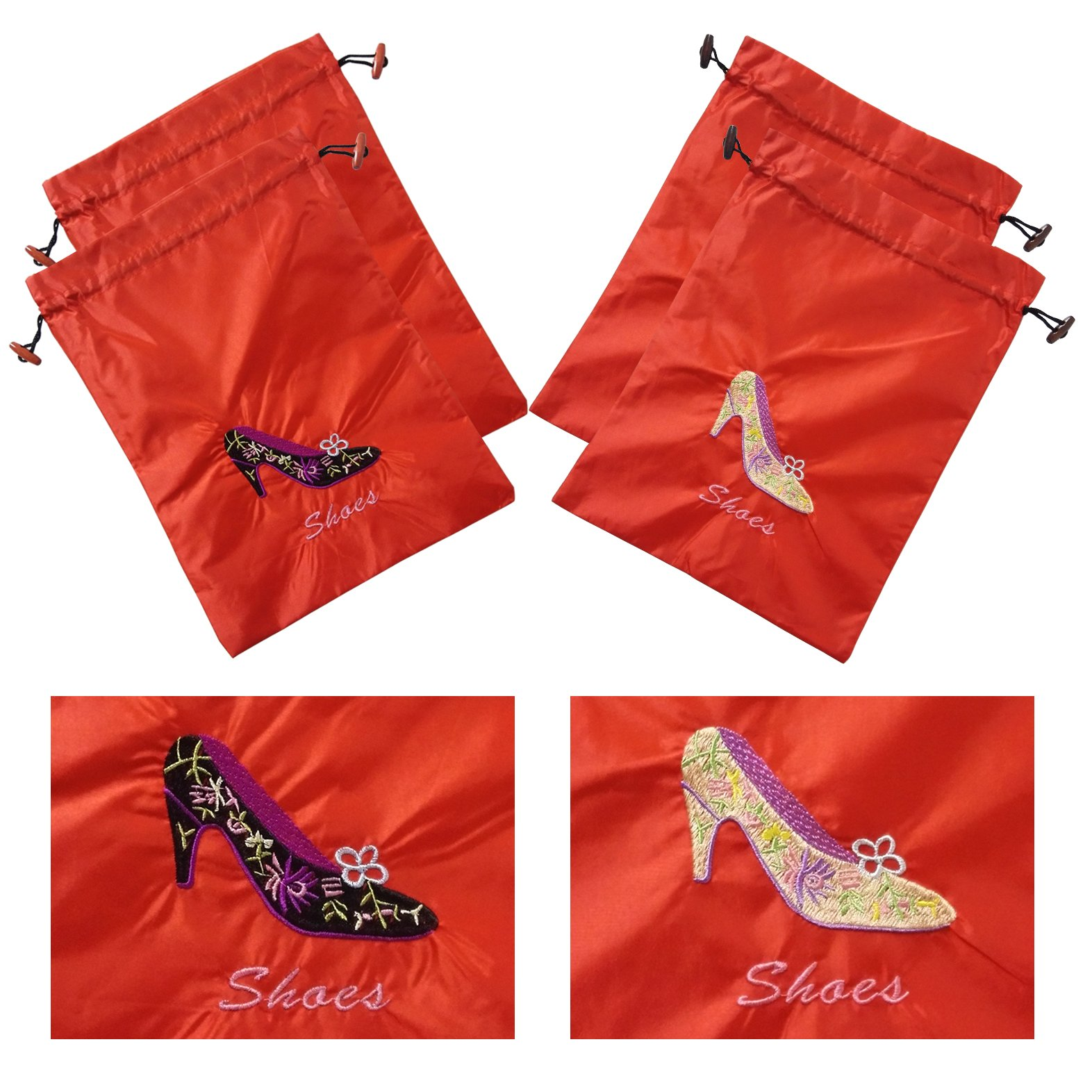 Gold Fortune 4 Packs 10.5'' x 14'' (L x W) Embroidered Silk Jacquard Travel Lingerie and Shoes Bags with Drawstring Closure (Red)
