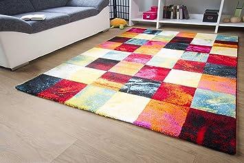 Designer Teppich Modern   Modena   Karo Bunt Öko Tex Karo Muster, Größe  200x290