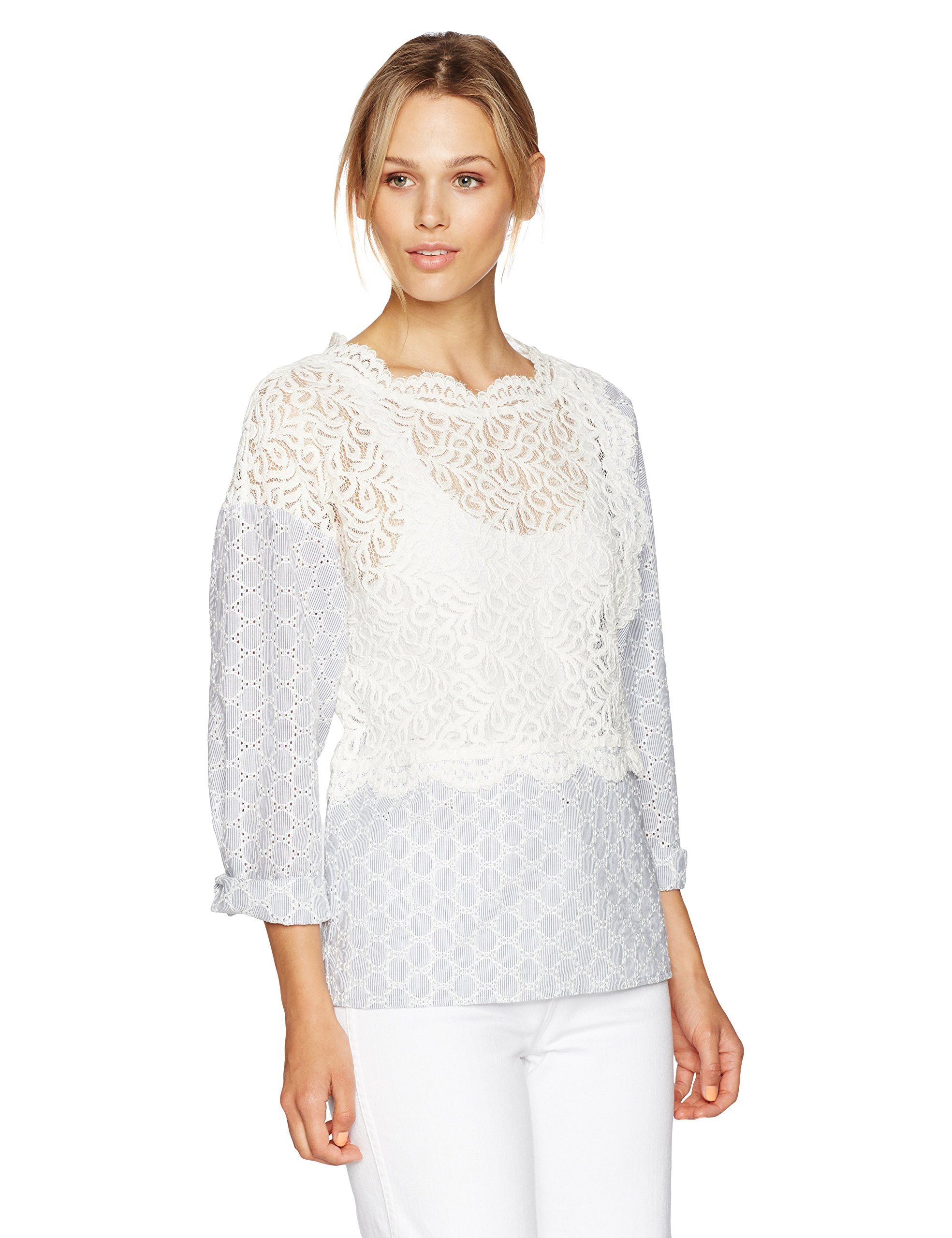 French Connection Women's Oni Lace Mix Top, Summer White, S